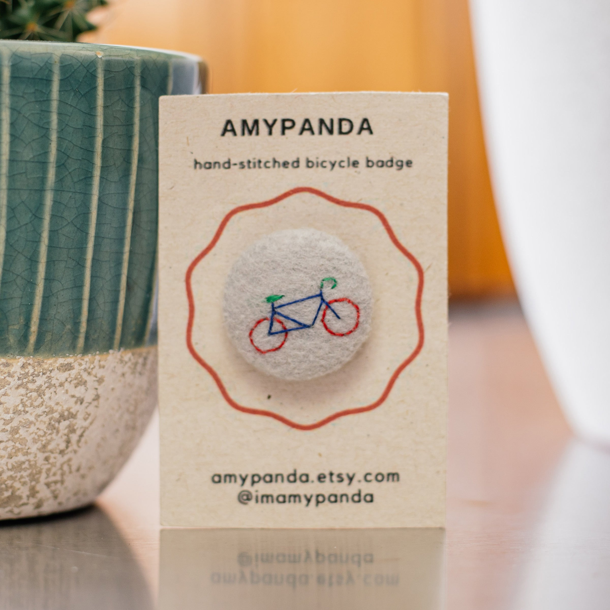 Amy Panda Hand-stitched Bicycle Badge (Grey) — The Tetley Shop