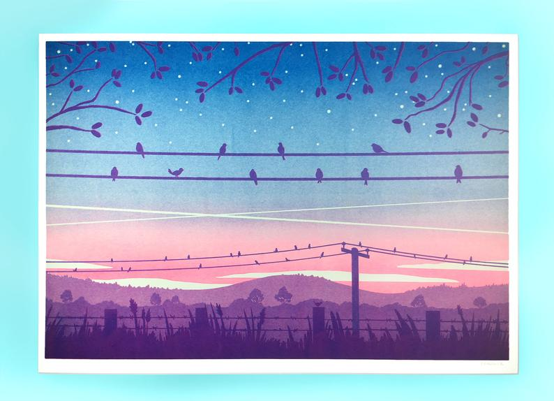 Tom Hardwick Birds at Sunrise Risograph Print — The Tetley Shop