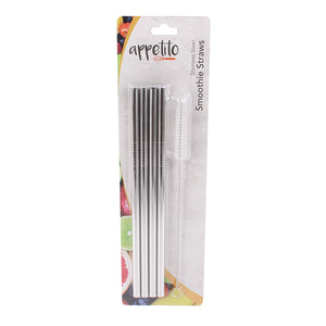 Appetito Stainless Steel Drinking Straws Straight 4pc