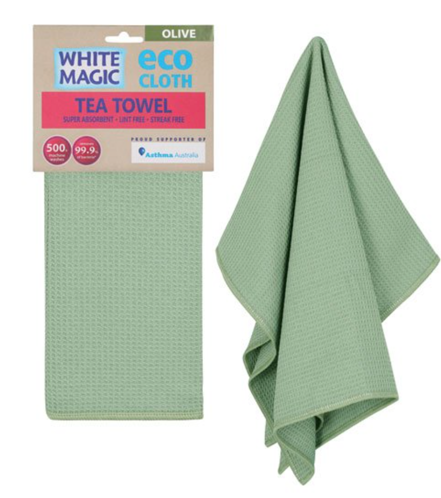 White Magic Microfibre Tea Towel- Olive
