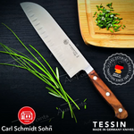 Load image into Gallery viewer, Tessin Santoku Knife with Walnut Handle 18cm
