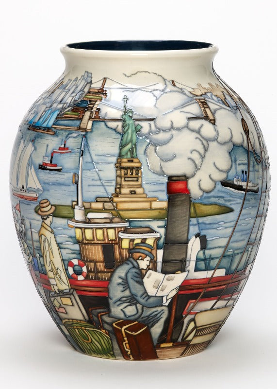 Moorcroft Coming to America Vase 61/10 - Numbered
