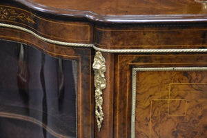 Mid 19th Century English Burr Walnut 3 Door Credenza