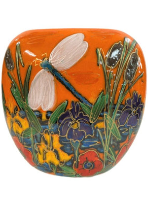Anita Harris Art Pottery Dragonfly Brook Purse Vase - Medium