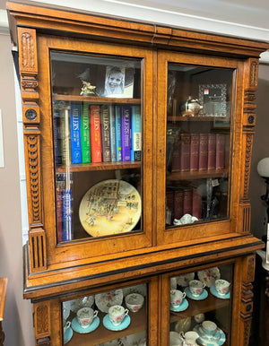 Late 19th Century Antique Continental Pollard Oak 4 Door Bookcase