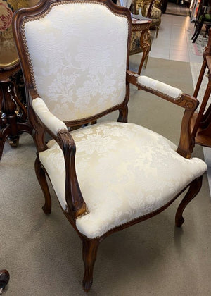 A Pair of Antique French Louis XV Style Walnut Armchairs