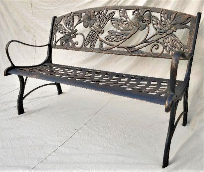 Cast Iron Bench - Dragonfly