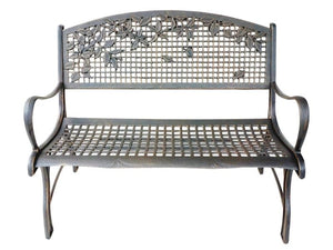Cast Iron Loveseat Bench - Leaves