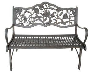Cast Iron Loveseat Bench - Lilies