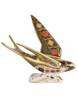 Royal Crown Derby Old Imari Solid Gold Band Swallow Paperweight