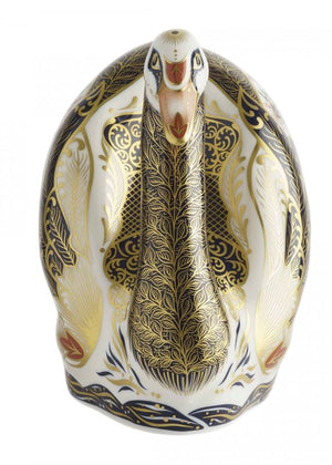 Royal Crown Derby Old Imari Solid Gold Band Swan Paperweight