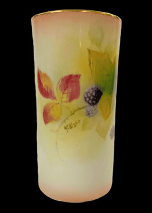Royal Worcester Blackberries Cylinder Vase - Signed T. Bishop