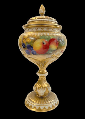 Royal Worcester Fruit Study Pedestal Pot-Pourri  - Signed H. H. Price