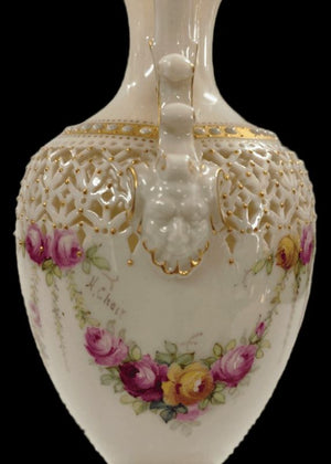 Royal Worcester Festoon of Roses Reticulated Jug by George Owens - Hand painted by Harry Chair