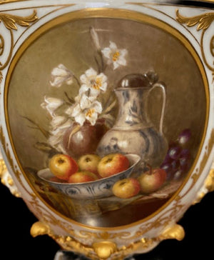 Royal Worcester Painted Still Life Lidded Urn - Signed W. Hawkins