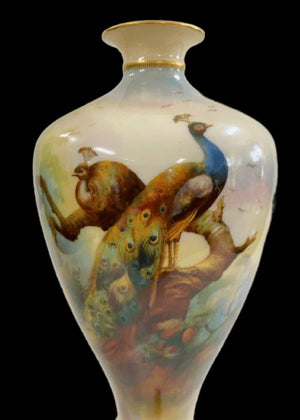 Royal Worcester Peacocks footed Vase - Unsigned