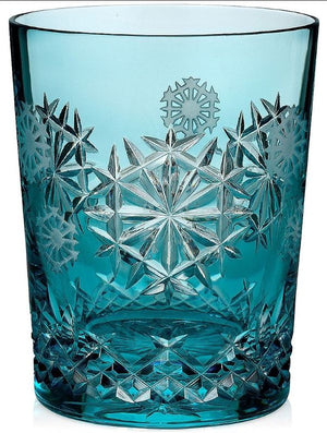 "Waterford Crystal 2018 Snowflake Wishes ""Happiness"" Prestige Limited Edition Aqua Double Old Fashion GlassFlute"