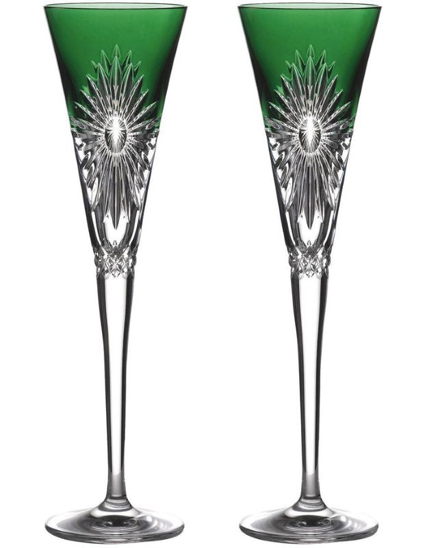 "Waterford Crystal 2021 Times Square ""Happiness"" Emerald Green Toasting Flute Pair"