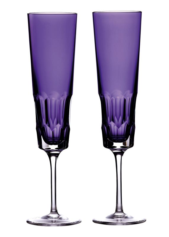 Waterford Crystal Jeff Leatham Icon Purple Flute Pair