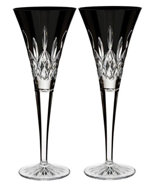 Waterford Crystal Lismore Black Flute Pair