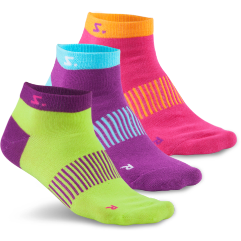 Salming Ankle Sock 3-pack - Lime/Purple/Pink