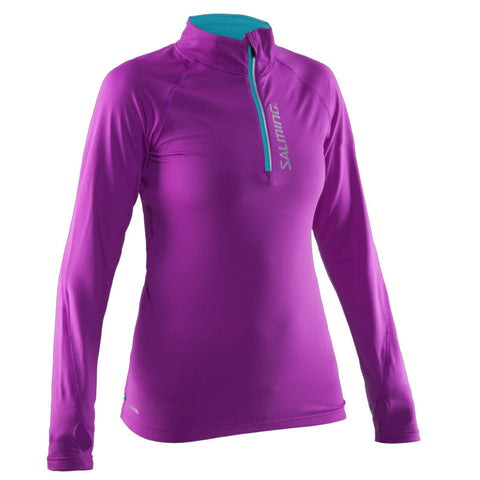 Image of Salming Halfzip LS Women - Purple Cactus Flower/Turquoise