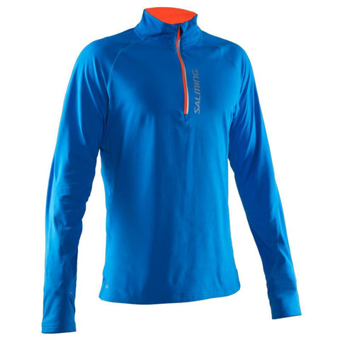 Salming Halfzip LS Tee Men - Electric Blue/Shocking Orange