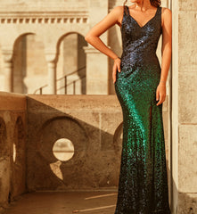 Long Sequin Two Tone Dress Size 10 Style 1007345