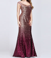 Long Sequins Dress Size 14 Style 1008999