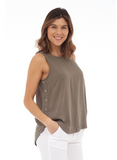 Sleeveless Top with Shirttail Hem