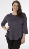Plus Size 3/4 Sleeve Vegan Suede Top