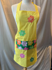 Yellow Apron With Floral Pocket O/S Style AP10