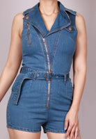 Collared Denim Romper