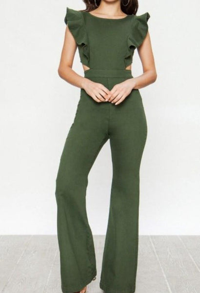 Green Denim Jumpsuit
