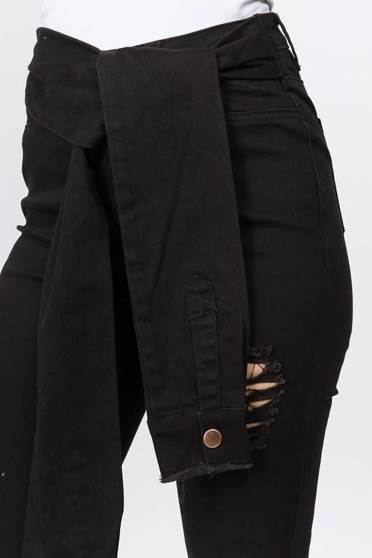 Black Sleeved Denim Jeans
