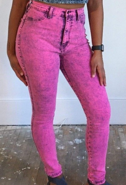 Hot Pink Acid Wash Denim Jeans