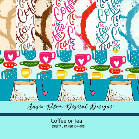 Coffee or Tea Digital Papers