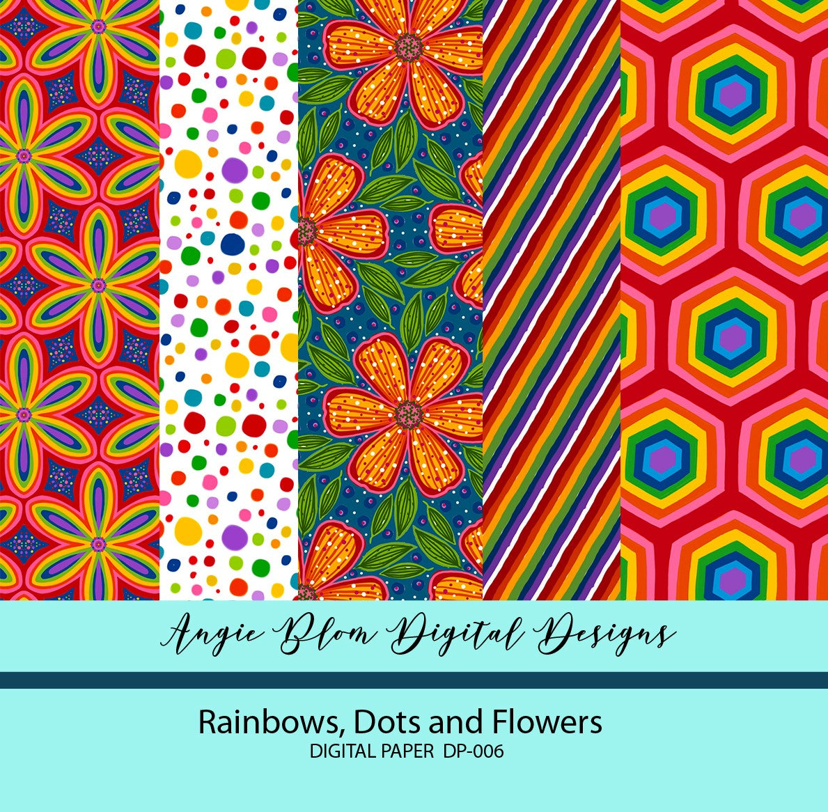 Rainbows, Dots and Flowers Digital Papers