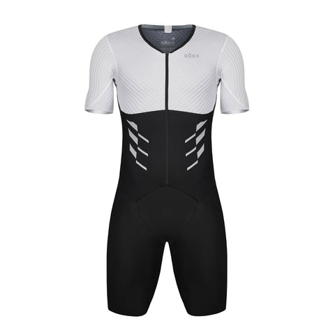 Men's Elite Aero II Short Sleeve Tri Suit (Black/White)