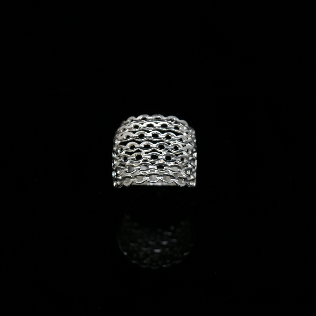 Knitting Ring - Convex Small Stitch - Silver