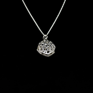 Molecule Necklace - Double Molecule Pendant - Silver