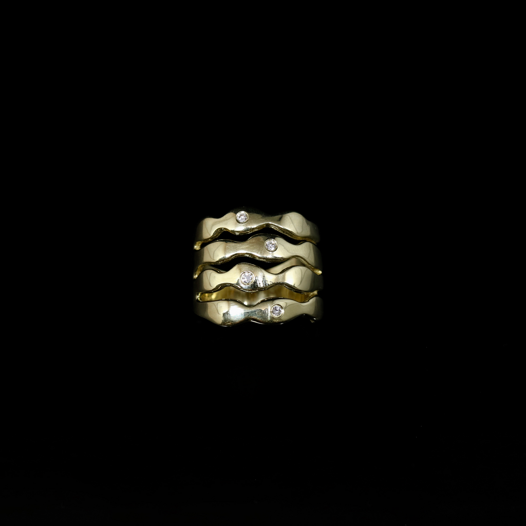 Bubble Seaweed Ring - Scattered Stones - 0.08ctw Diamonds - Gold