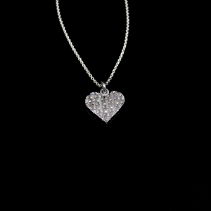 Knitting Necklace - Large Heart - Silver