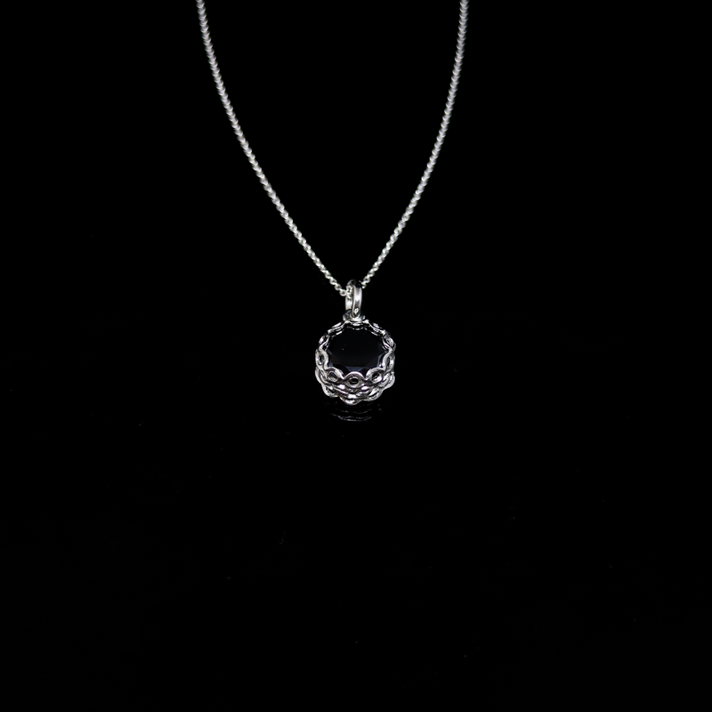Knitting Necklace - 10mm Round Stone - Silver