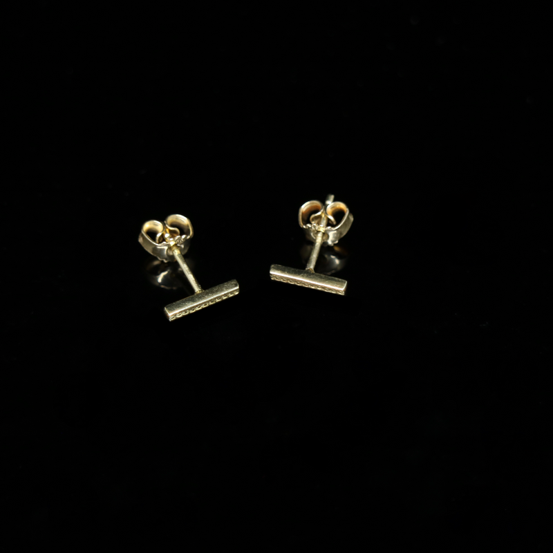Celts & Kings Earrings - Pattern Bar Studs - Gold