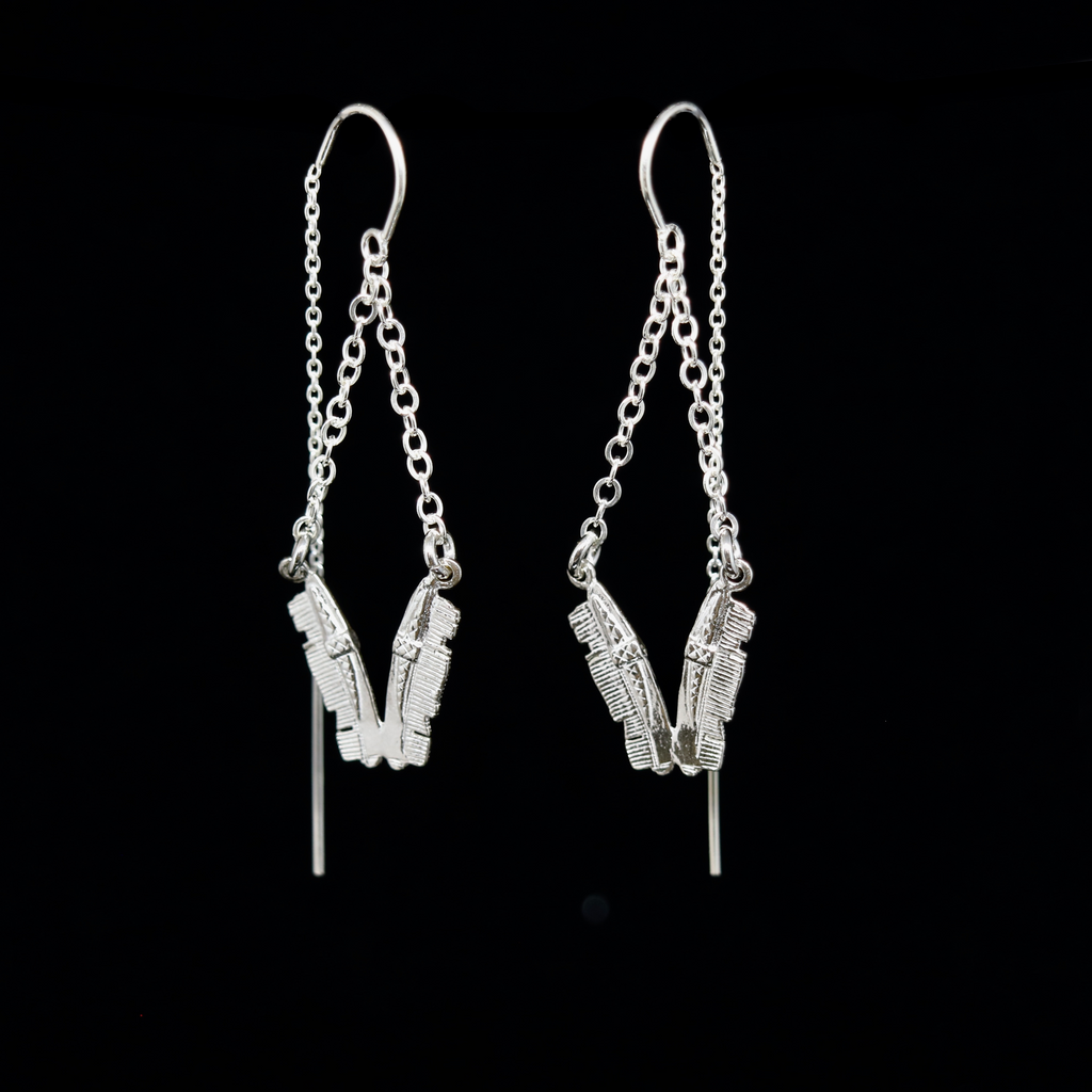 Celts & Kings Earrings - Chevron Combs Hanging - Silver