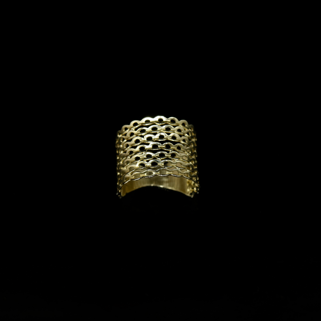 Knitting Ring - Small Stitch - Wide Band - Gold