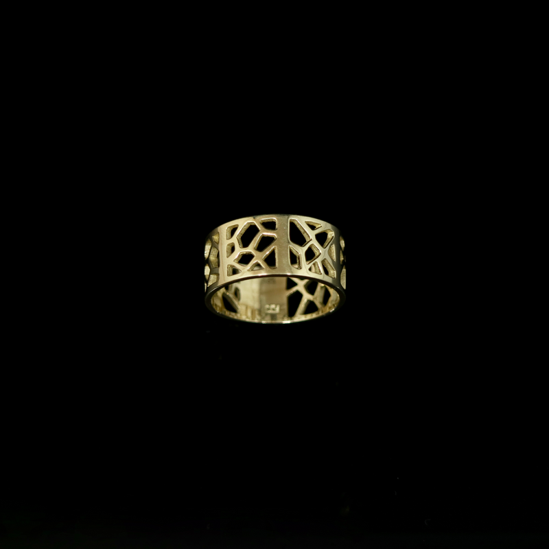 Molecule Ring - Decorated Band - Wide - Gold