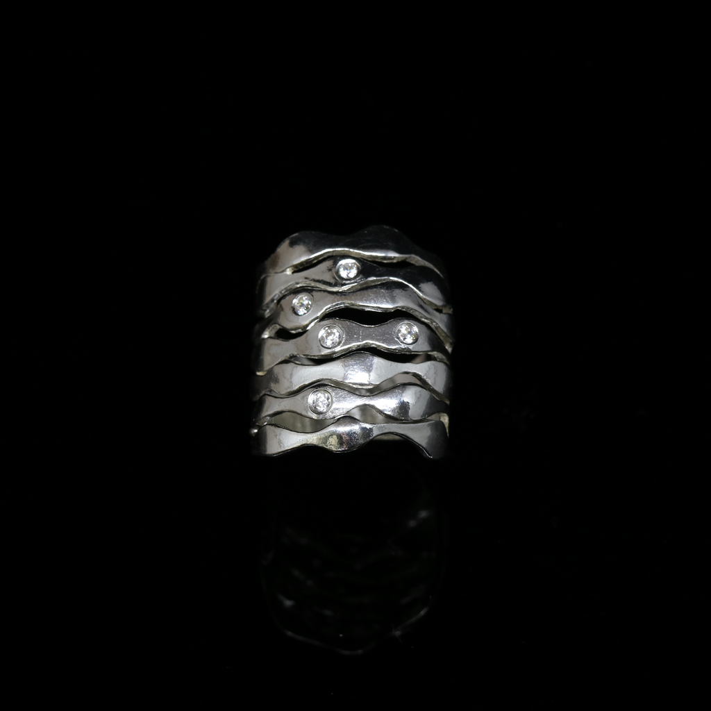 Bubble Seaweed Ring - Scattered Stones - Wide Band - Silver