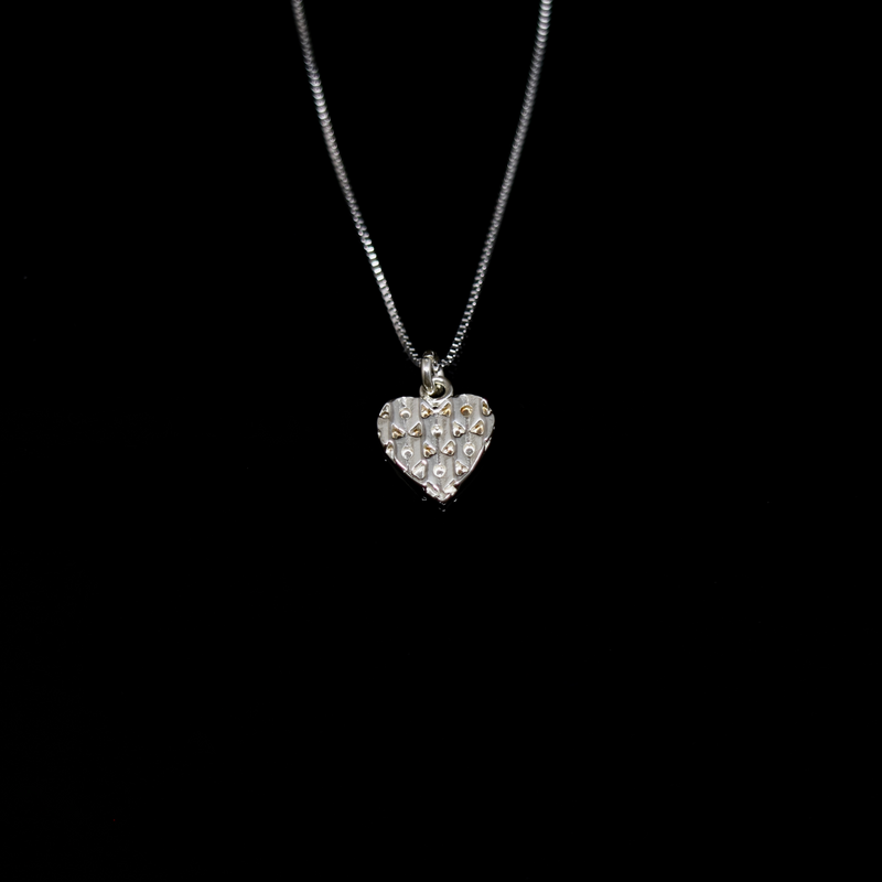 Knitting Necklace - Small Heart - Silver